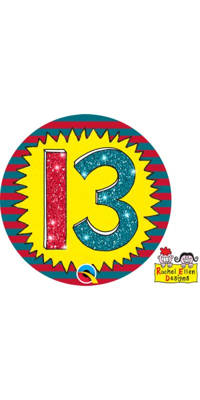 Large Birthday Badge Glitter Age 13