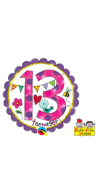 Large Birthday Badge Glitter Pink Age 13 Teenager!