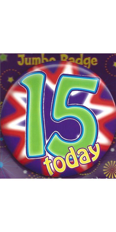 Jumbo Birthday Badge Green Age 15