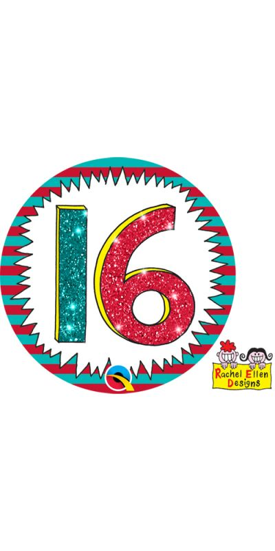 Large Birthday Badge Glitter 16