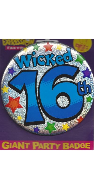 Giant Birthday Badge Holographic Blue 16th Wicked