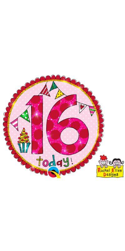 Large Birthday Badge Glitter Pink 16