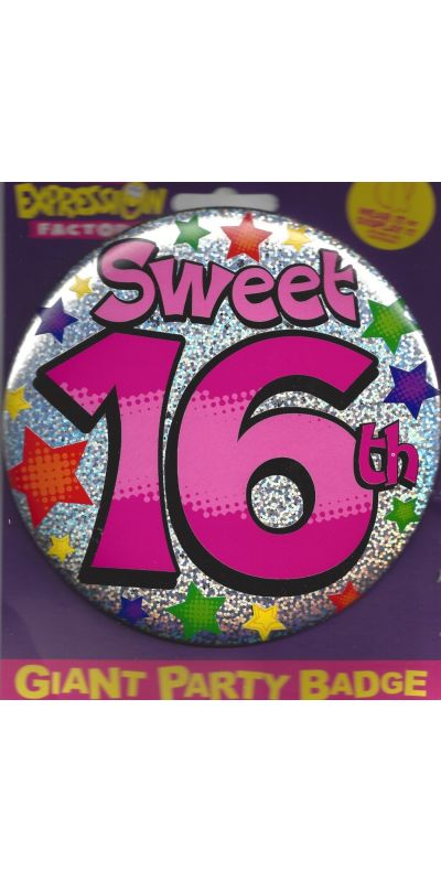 Giant Birthday Badge Holographic Pink Sweet 16th