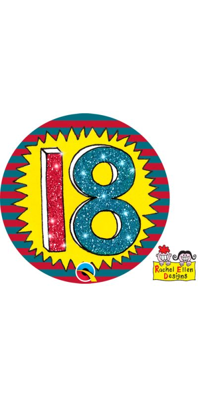 Large Birthday Badge Glitter Age 18