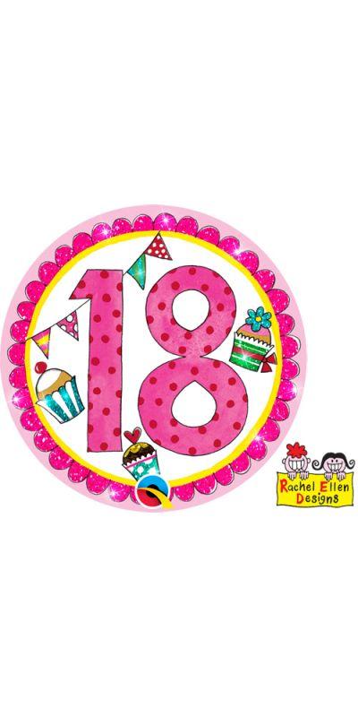 Large Birthday Badge Pink Age 18