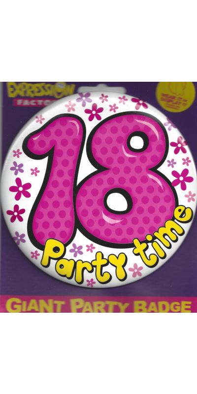 Giant Birthday Badge Pink 18 Party Time