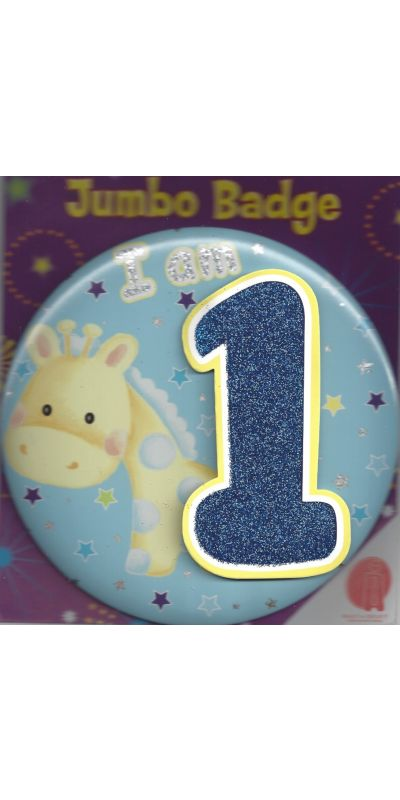 Jumbo Birthday Badge 3D Glitter Blue Age 1