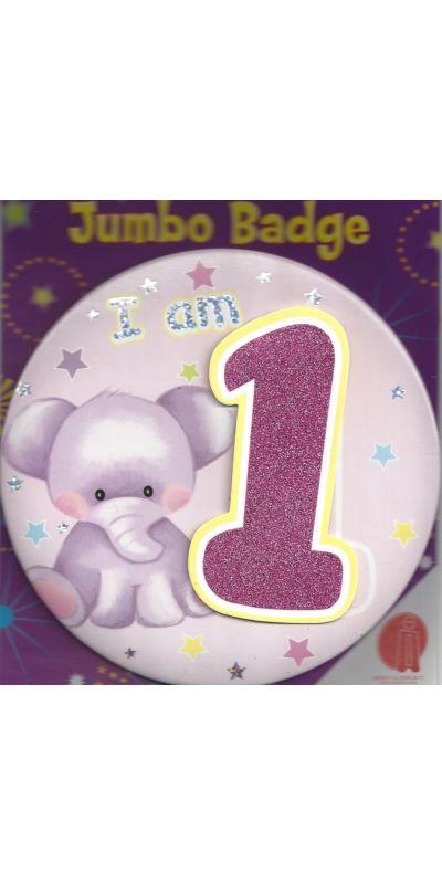 Jumbo Birthday Badge 3D Glitter Pink Age 1