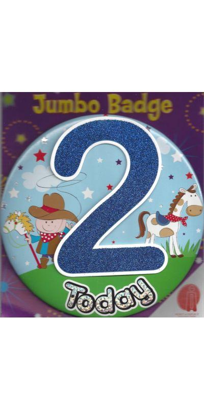 Jumbo Birthday Badge 3D Glitter Blue Age 2