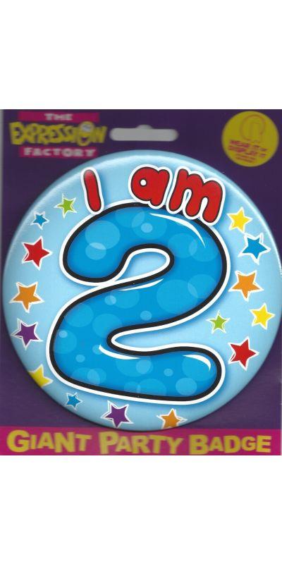 Giant Birthday Badge Blue Age I Am 2