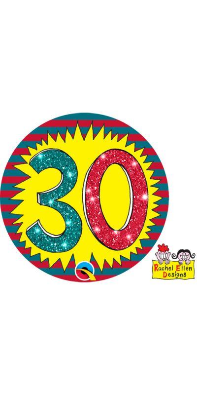 Large Birthday Badge Glitter Age 30