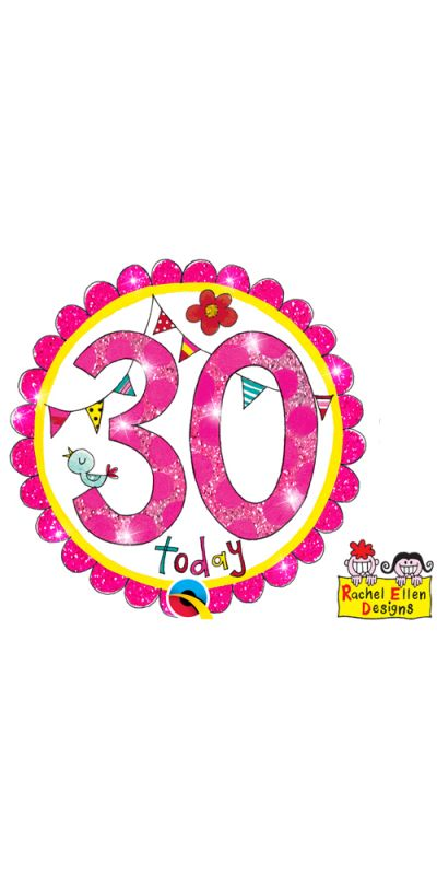 Large Birthday Badge Glitter Pink Age 30 Today