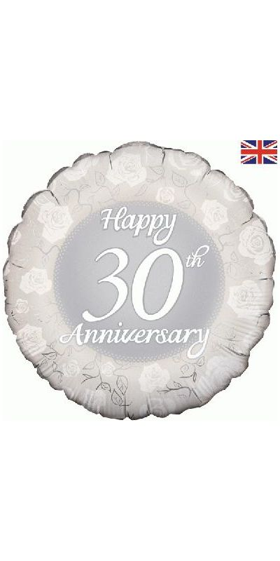 Happy 30th Anniversary Silver foil balloon 18 inch