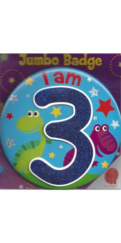 Jumbo Birthday Badge 3D Glitter Blue Age 3