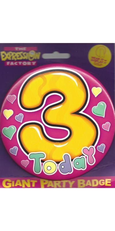 Giant Birthday Badge Pink Age 3