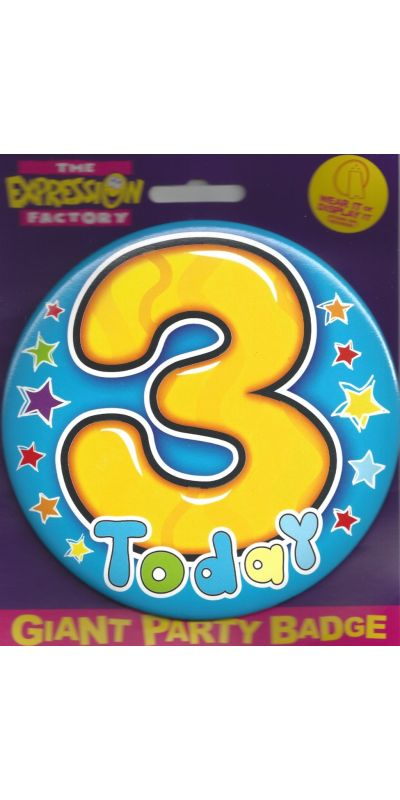 Giant Birthday Badge Blue Age 3 Today