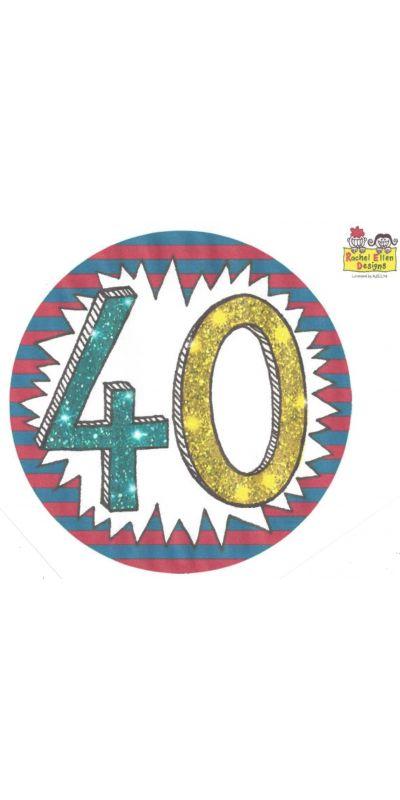 Large Birthday Badge Glitter Age 40