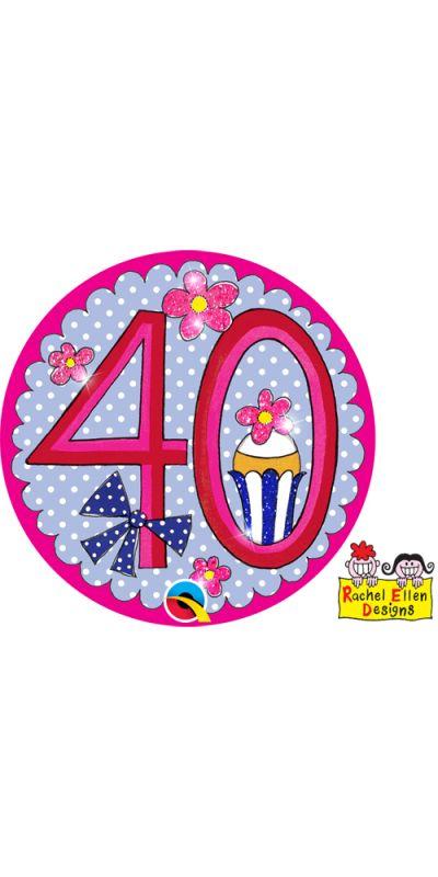 Large Birthday Badge Pink Age 40