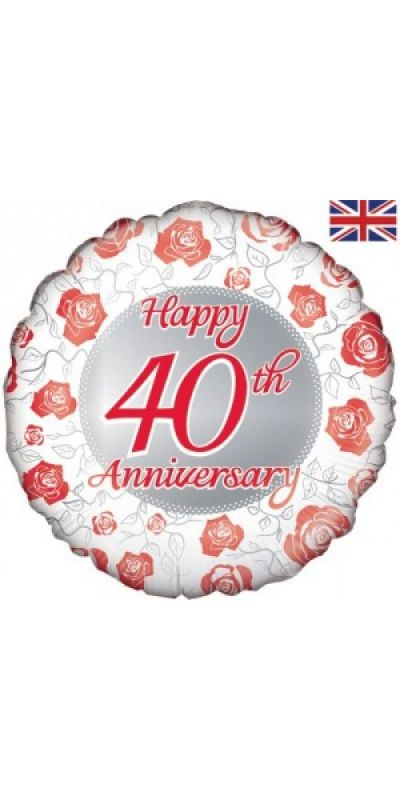 Happy 40th Anniversary Red foil balloon 18 inch