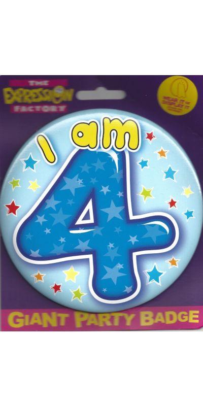 Giant Birthday Badge Blue Age 4