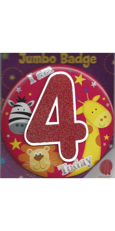 Jumbo Birthday Badge 3D Glitter And Animals Age 4