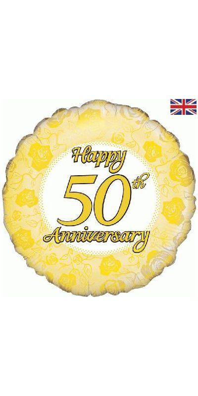 Happy 50th Anniversary Gold foil balloon 18 inch