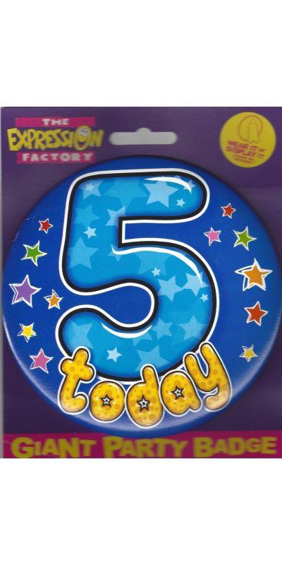 Giant Birthday Badge Blue Age 5