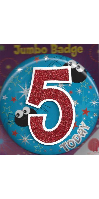 Jumbo Birthday Badge 3D Glitter Blue Age 5