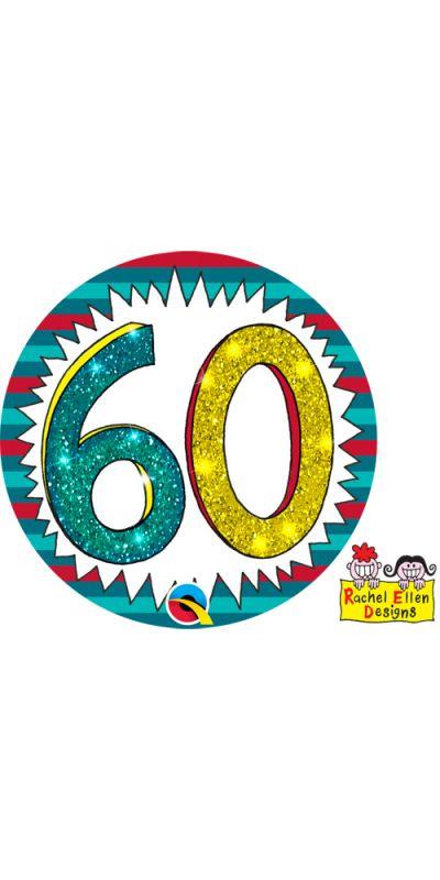 Large Birthday Badge Glitter Age 60