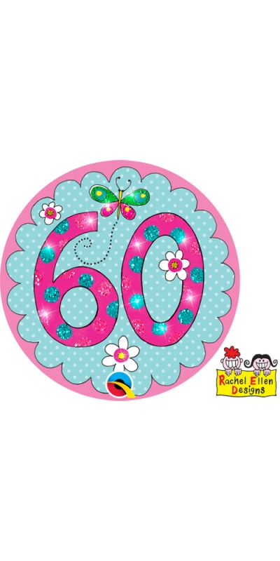 Large Birthday Badge Glitter Pink Age 60