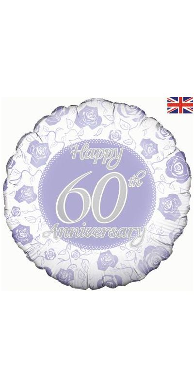 Happy 60th Anniversary foil balloon 18 inch