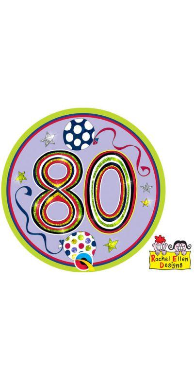 Large Birthday Badge Age 80