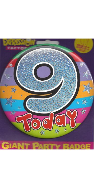Giant Birthday Badge Holographic 9 Today