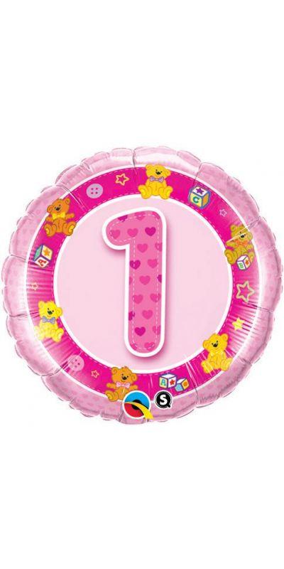 Birthday balloon Pink 18 inch age 1