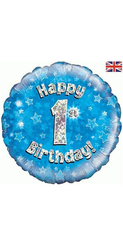 Holographic Blue 1st birthday foil balloon 18 inch