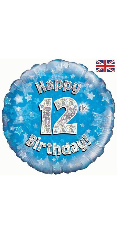 Holographic Blue 12th birthday foil balloon 18 inch