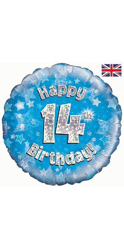Holographic Blue 14th birthday foil balloon 18 inch