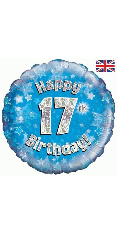 Holographic Blue 17th birthday foil balloon 18 inch
