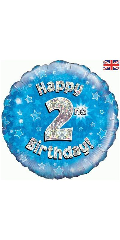 Holographic Blue 2nd birthday foil balloon 18 inch