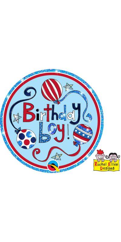 Large Birthday Badge Glitter Blue Birthday Boy