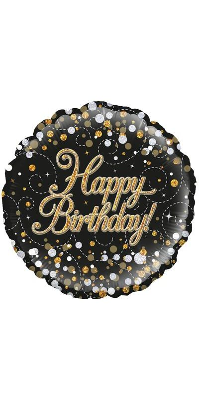 Holographic Sparkling Gold Fizz Happy Birthday foil balloon 18 inch