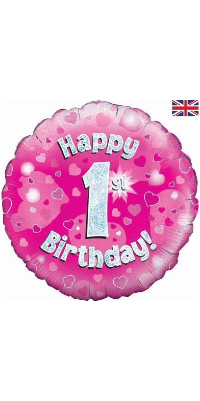 Holographic Pink 1st birthday foil balloon 18 inch