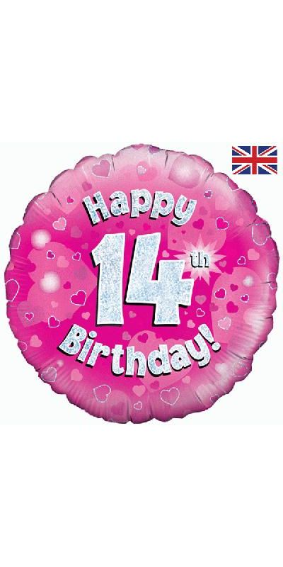 Holographic Pink 14th birthday foil balloon 18 inch