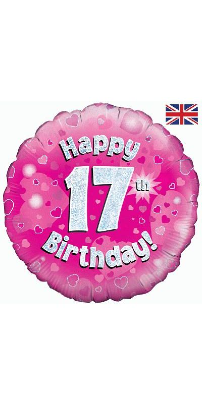 Holographic Pink 17th birthday foil balloon 18 inch