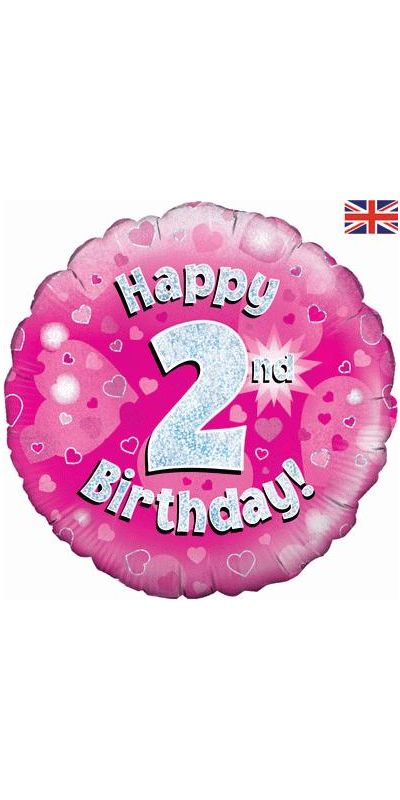Holographic Pink 2nd birthday foil balloon 18 inch