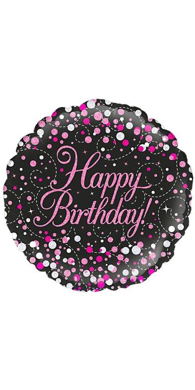 Holographic Sparkling Pink Fizz Happy Birthday foil balloon 18 inch
