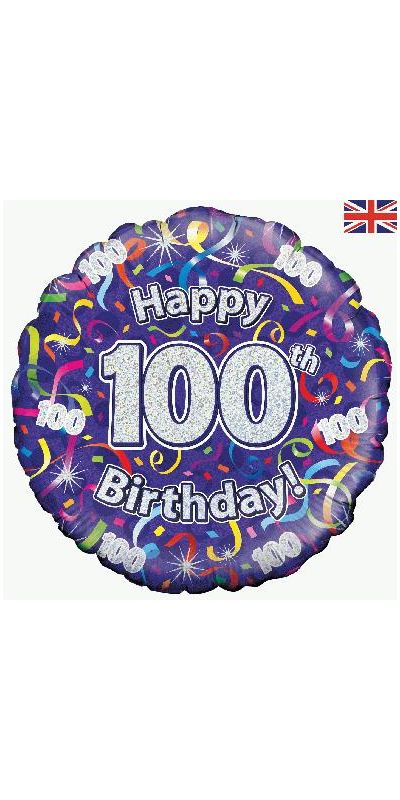 Holographic Streamers 100th birthday foil balloon 18 inch