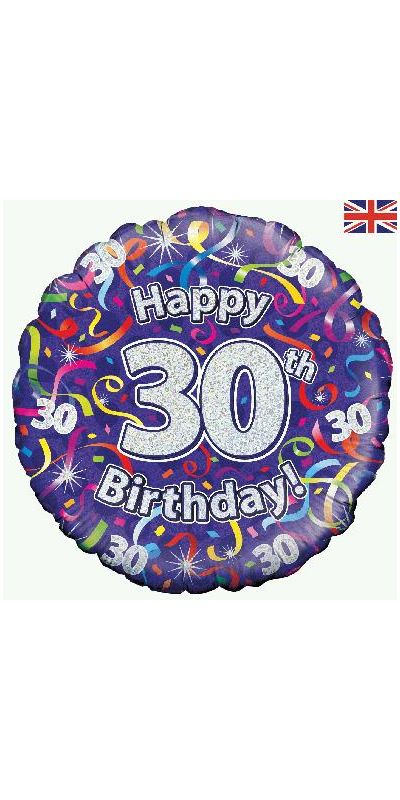 Holographic Streamers 30th birthday foil balloon 18 inch