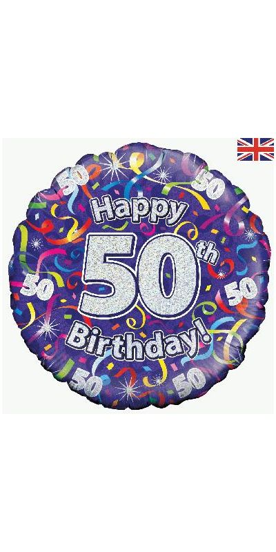 Holographic Streamers 50th birthday foil balloon 18 inch