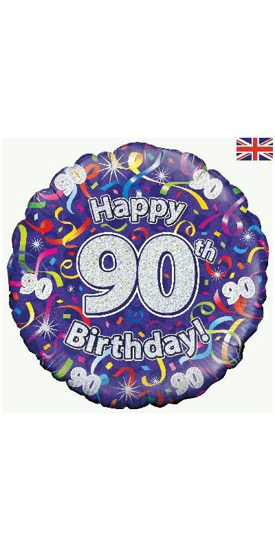 Holographic Streamers 90th  birthday foil balloon 18 inch